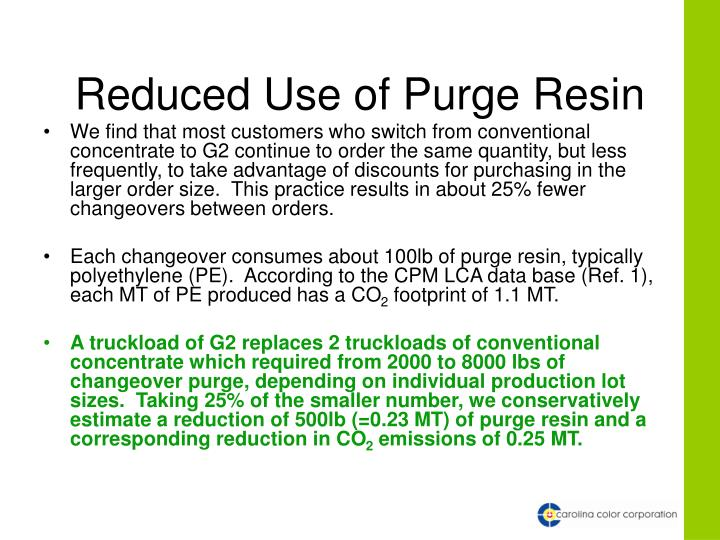 Reduced Use of Purge Resin