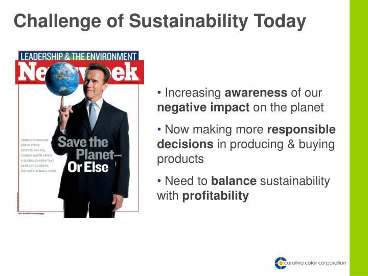 Challenge of Sustainability Today