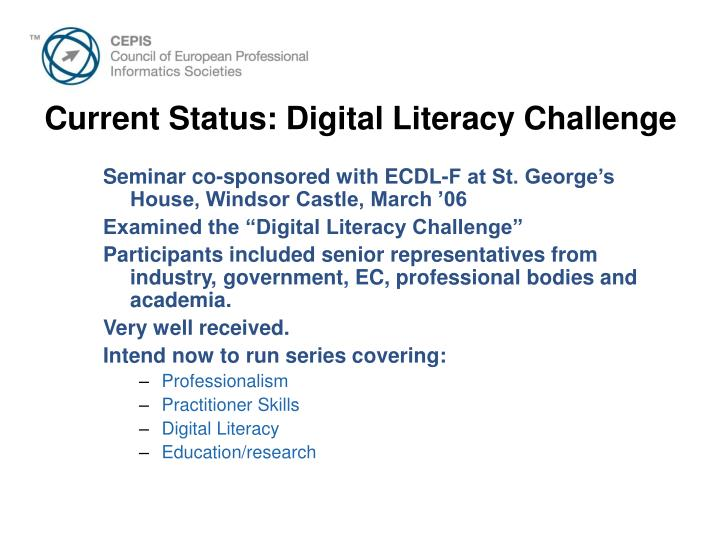 Current Status: Digital Literacy Challenge