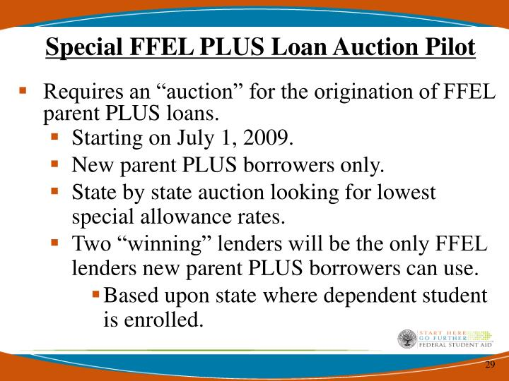 Special FFEL PLUS Loan Auction Pilot