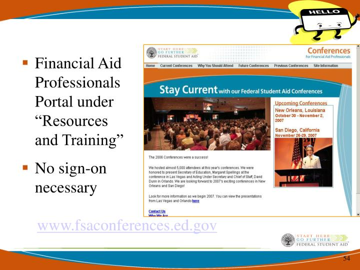 "Financial Aid Professionals Portal under ""Resources and Training"""