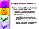 being an effective substitute6
