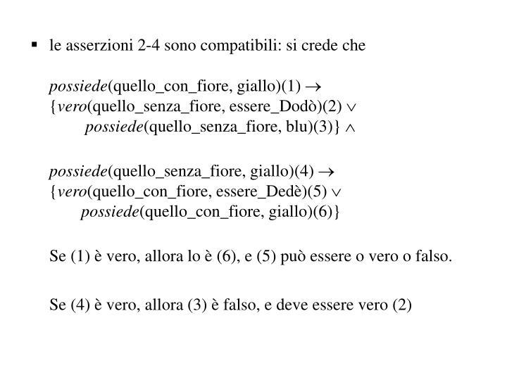le asserzioni 2-4 sono compatibili: si crede che