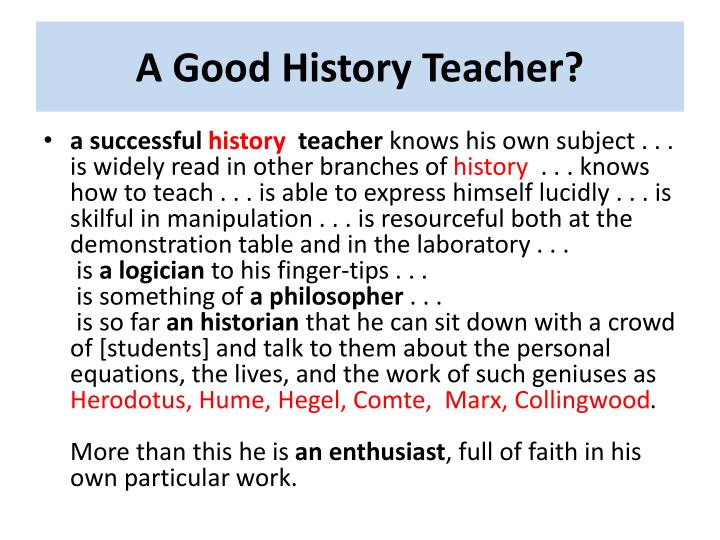 A Good History Teacher?