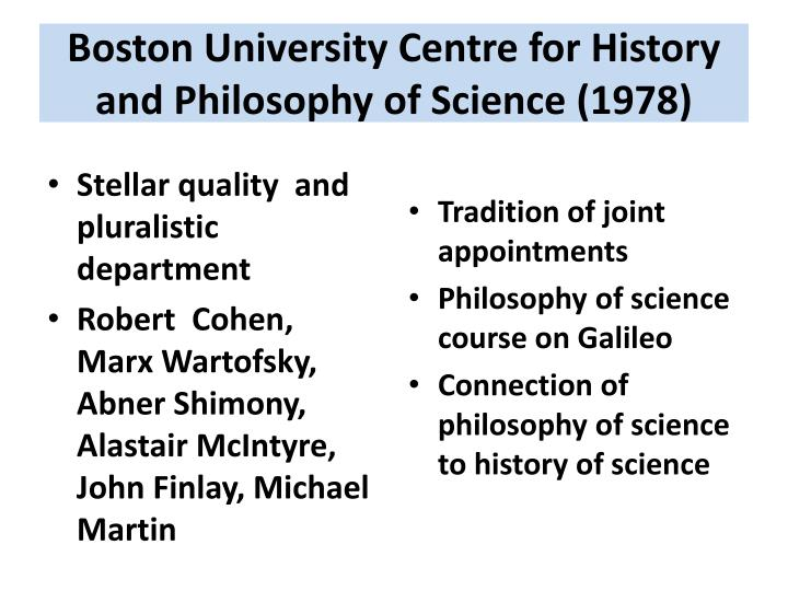 Boston University Centre for History and Philosophy of Science (1978)