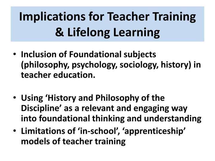 Implications for Teacher Training