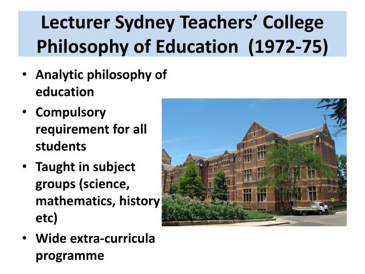Lecturer Sydney Teachers' College