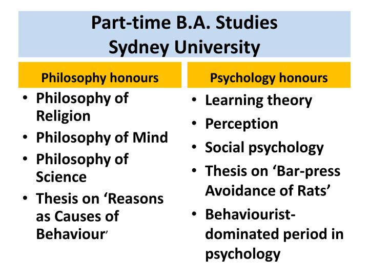 Part-time B.A. Studies