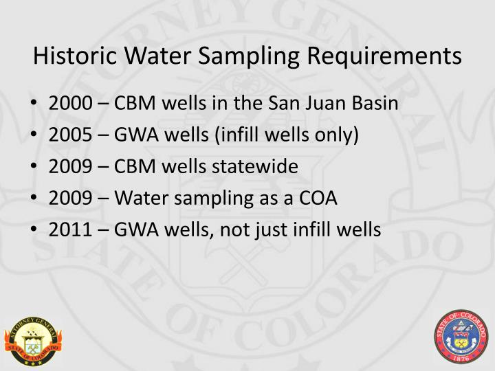 Historic Water Sampling Requirements