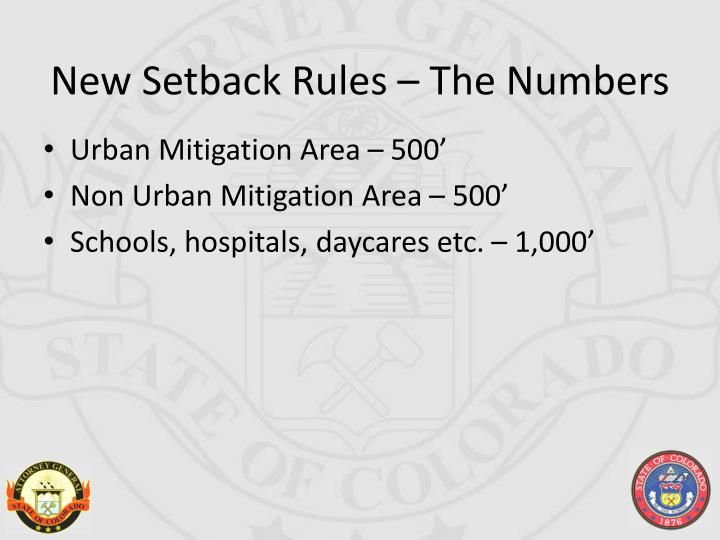 New Setback Rules – The Numbers
