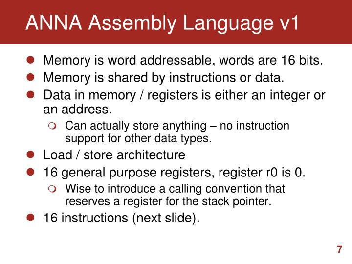 ANNA Assembly Language v1