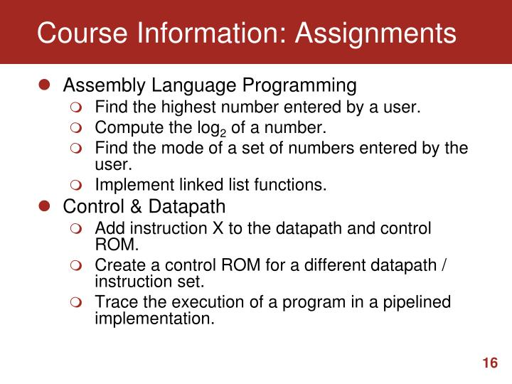 Course Information: Assignments