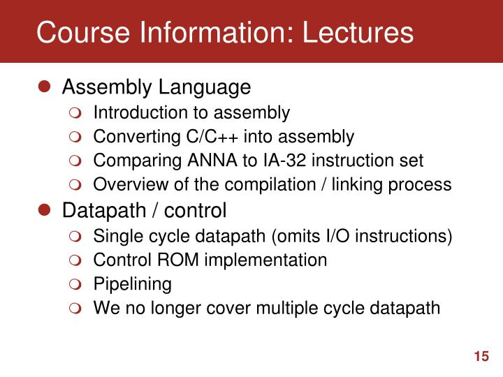Course Information: Lectures
