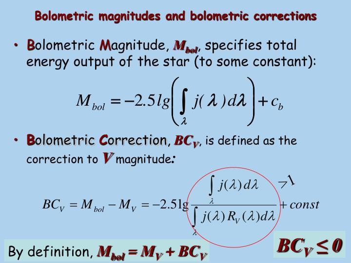 Bolometric magnitudes and bolometric corrections