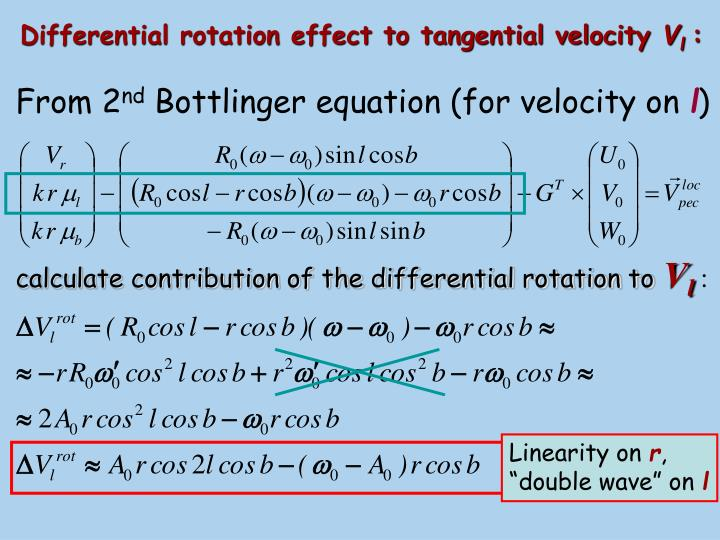 Differential rotation effect to tangential velocity