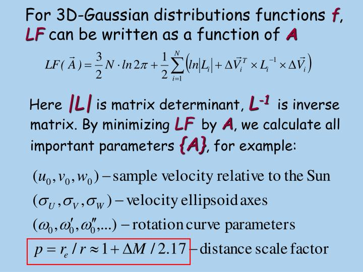 For 3D-Gaussian distributions functions