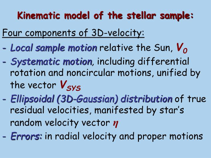 Kinematic model of the stellar sample: