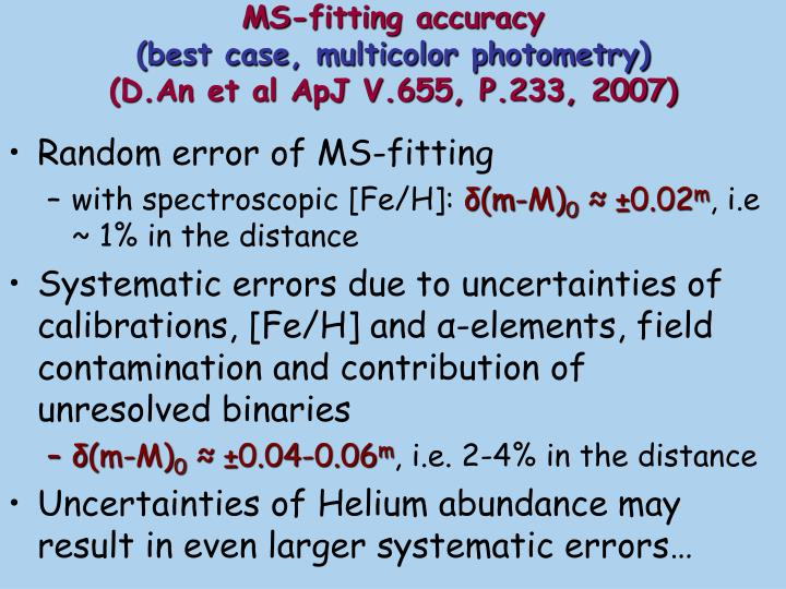 MS-fitting accuracy