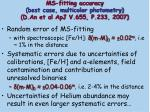 ms fitting accuracy best case multicolor photometry d an et al apj v 655 p 233 2007