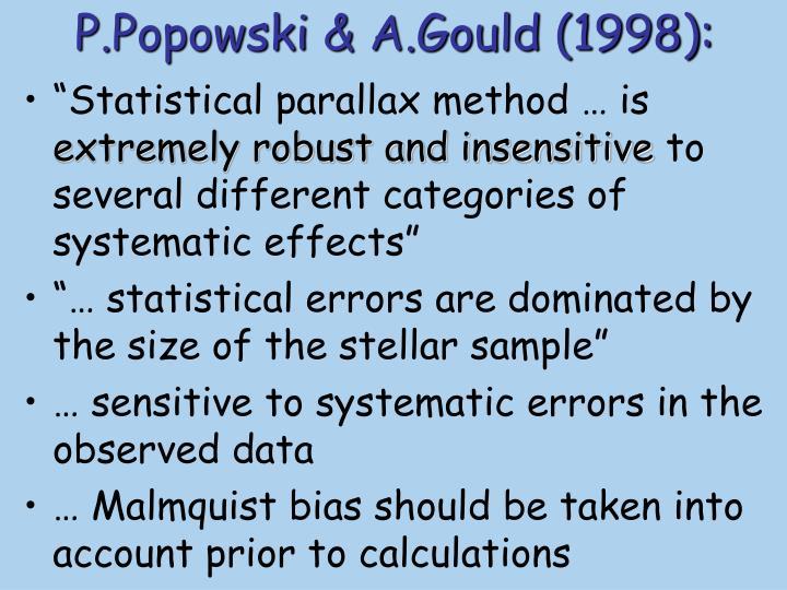 P.Popowski & A.Gould (1998):
