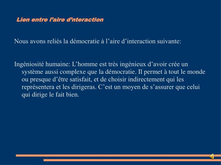 Lien entre l'aire d'nteraction