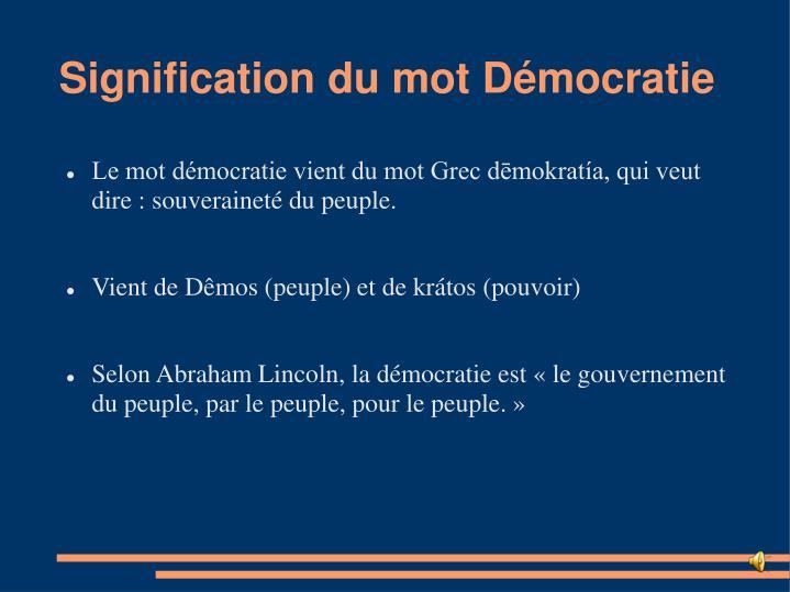 Signification du mot Démocratie