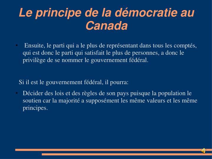 Le principe de la démocratie au Canada