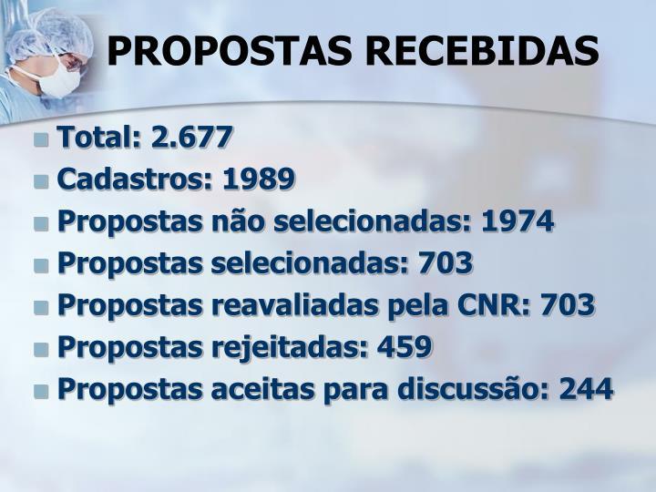 PROPOSTAS RECEBIDAS