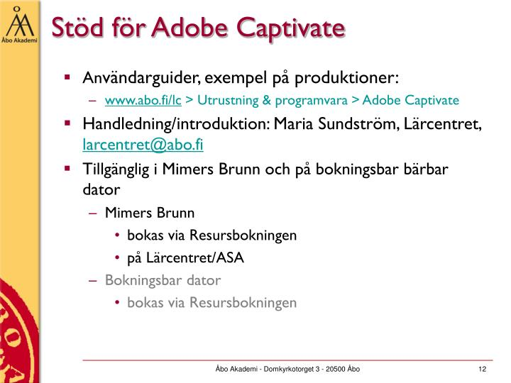 Stöd för Adobe Captivate