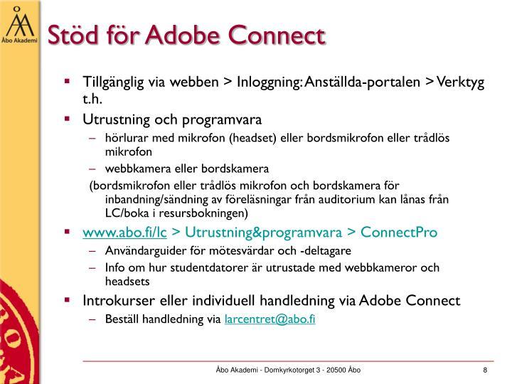Stöd för Adobe Connect