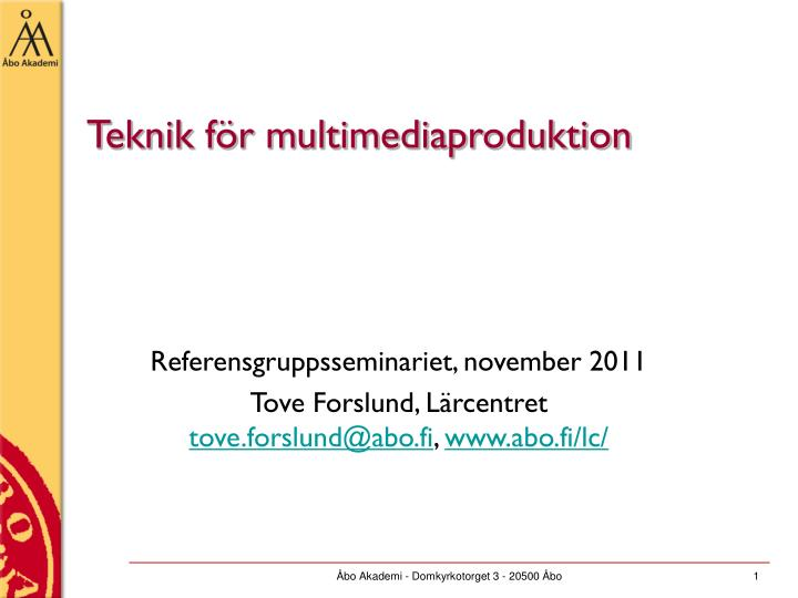 Teknik f r multimediaproduktion