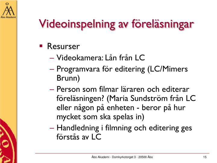 Videoinspelning av föreläsningar