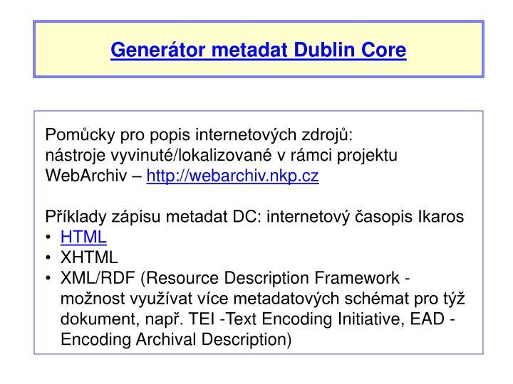 Generátor metadat Dublin Core