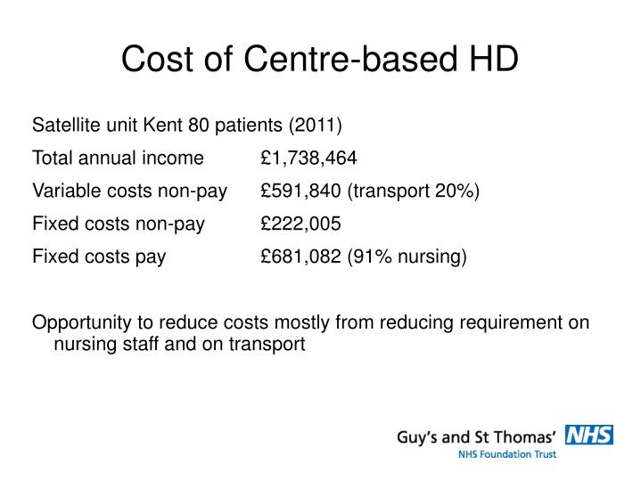 Cost of Centre-based HD