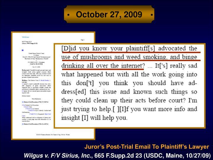 October 27, 2009