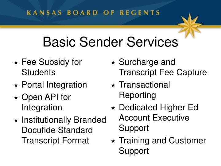 Basic Sender Services