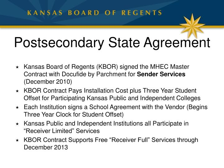 Postsecondary State Agreement