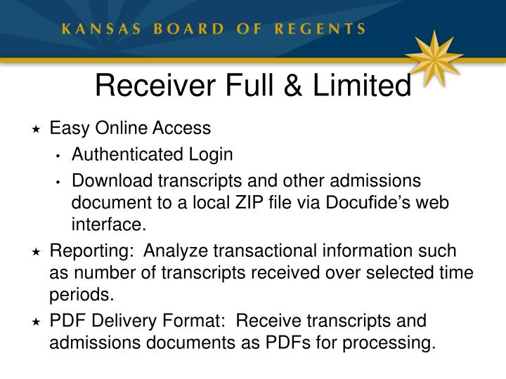 Receiver Full & Limited