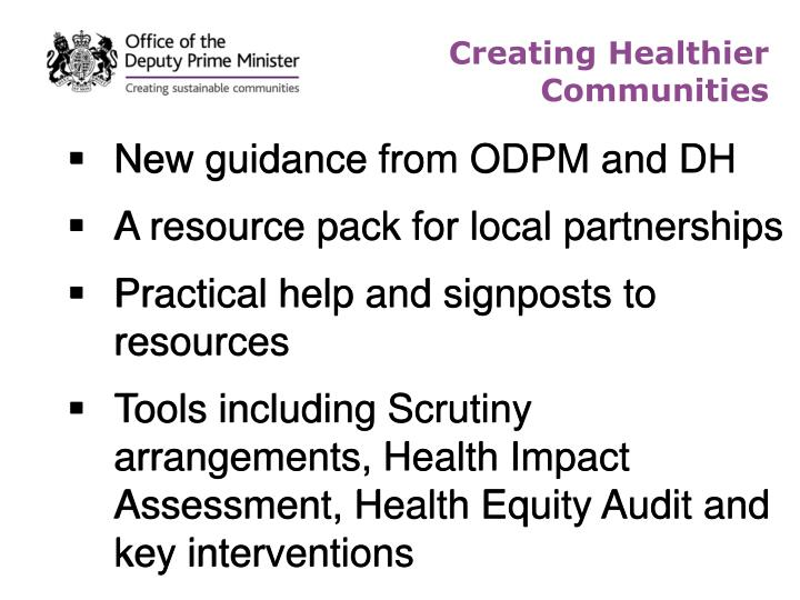 New guidance from ODPM and DH