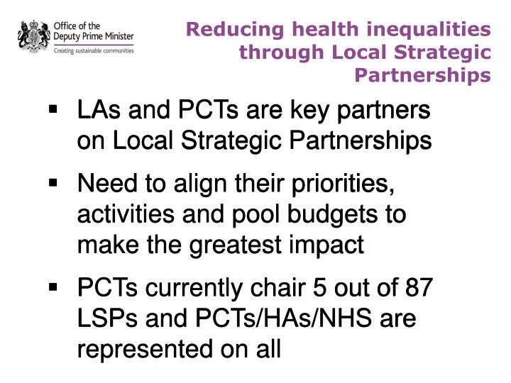 Reducing health inequalities through Local Strategic Partnerships