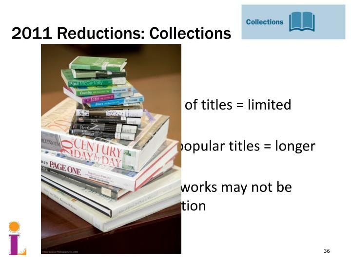 2011 Reductions: Collections
