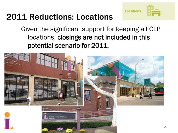 2011 Reductions: Locations
