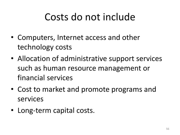 Costs do not include