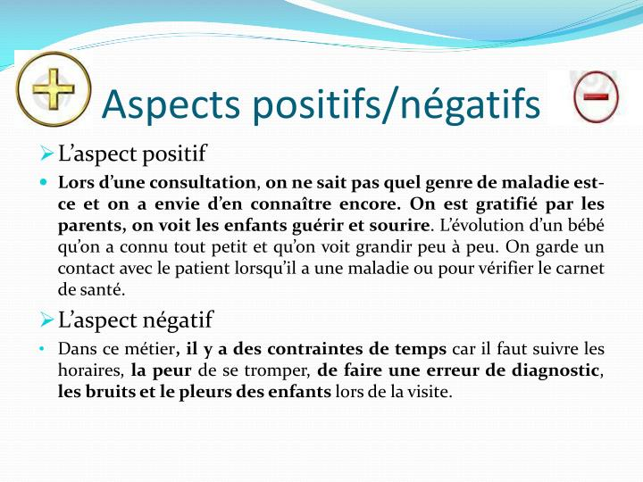 Aspects positifs/négatifs
