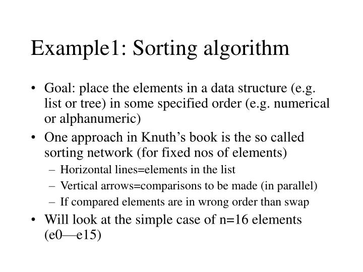 Example1: Sorting algorithm
