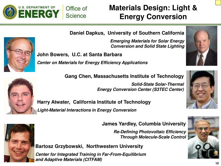 Materials Design: Light & Energy Conversion
