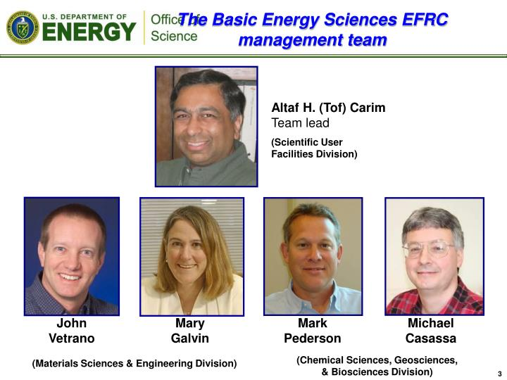 The basic energy sciences efrc management team