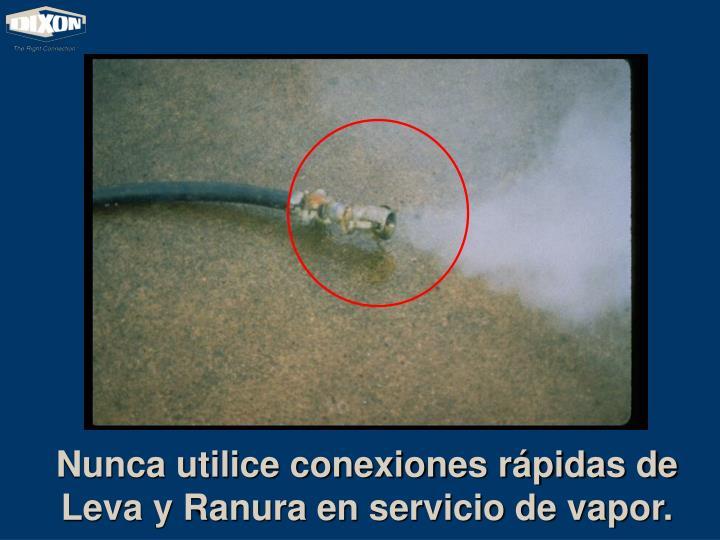 Nunca utilice conexiones rápidas de Leva y Ranura en servicio de vapor.