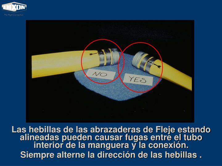 Las hebillas de las abrazaderas de Fleje estando alineadas pueden causar fugas entre el tubo interior de la manguera y la conexión.