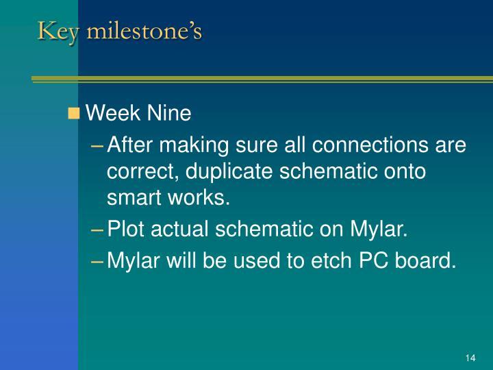 Key milestone's